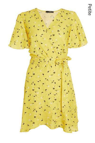 Petite Yellow Floral Wrap Dress